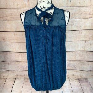 Ann Taylor LOFT Sleeveless Blue Green Top Size M